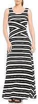 Calvin Klein Pieced Stripe Knit Jersey Maxi Dress