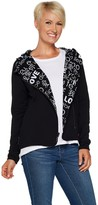 Peace Love World Reversible Knit Jacket with Allover Print