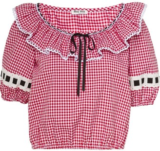 Miu Miu Gingham-Check Top