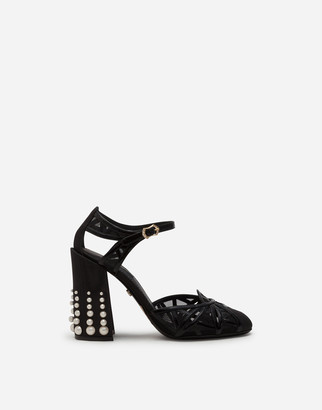 Dolce & Gabbana Mixed Material Ankle Strap Shoes With Pearl Embroidery