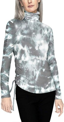 b new york Women's Recycled Long Sleeve Asymmetrical Drawstring Turtleneck Top