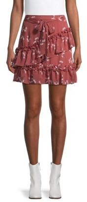 No Boundaries Juniors' Ruffled Woven Skirt