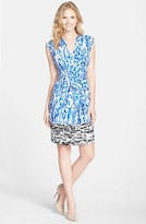 Ellen Tracy Print Faux Wrap Dress