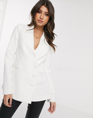 4th + Reckless blazer with open back in white