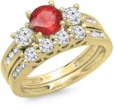 DazzlingRock Collection 1.80 Carat (ctw) 14K White Gold Ruby & White Diamond Bridal 3 Stone Engagement Ring Set (Size 7)