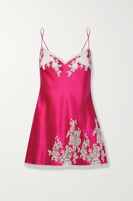 Carine Gilson Chantilly Lace-trimmed Silk-satin Chemise - Bright pink