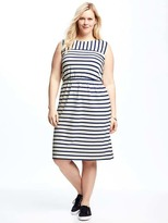 Old Navy Striped Jersey Easy-Waist Plus-Size Dress
