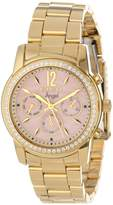 Invicta Women's 11772 Angel Mother-Of-Pearl Dial Cubic Zirconia Accented 18k Gold Ion-Plated Stainless Steel Watch