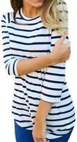 CFD Womens Slim Fit Striped Long-Sleeve Crewneck Tops Blouses M