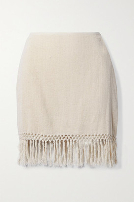 Savannah Morrow The Label Net Sustain The Jasmine Fringed Macrame Ramie Mini Skirt