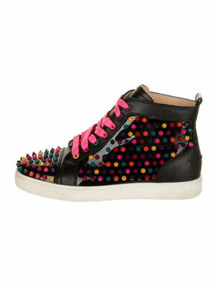 Christian Louboutin Leather Studded Accents Sneakers Black