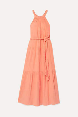 Apiece Apart Escondido Belted Crinkled Cotton-voile Maxi Dress - Peach