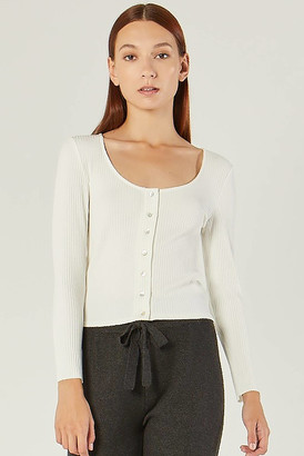 Comune Galesville Button Front Ribbed Top White XS