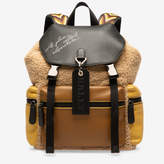 Bally Crew Beige, Men's cotton and bovine leather backpack in beige