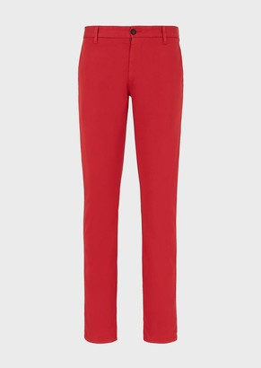 Emporio Armani Chino Trousers In Garment-Dyed Stretch Cotton