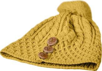 Aran Woollen Mills 100% Merino Wool Bobble Hat with Three Wooden Buttons Design
