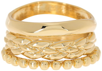 Halogen Braided Chain Ring Stack - Set of 3