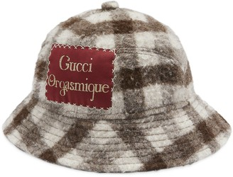 Gucci Check casentino wool hat with label