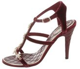 Chanel 2015 Pre-Fall Velvet Embellished Sandals w/ Tags