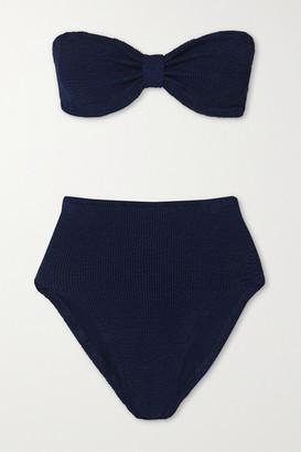 Hunza G Posey Seersucker Bandeau Bikini - Navy