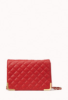 Forever 21 Quilted Metal Trim Crossbody Bag