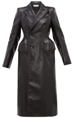 Balenciaga Double Breasted Hourglass Leather Coat - Womens - Black