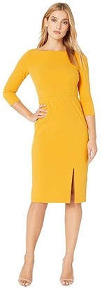 Donna Morgan Boat Neck 3/4 Sleeve Side Slit Crepe Dress (Butternut) Women's Dress