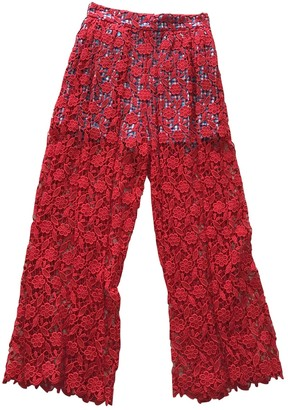 Stella Jean Red Cotton Trousers