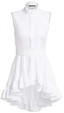Alexander McQueen Women's Sleeveless Ruffle Poplin Shirt