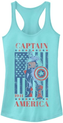 Licensed Character Juniors' Marvel Captain America Vintage Flag 1941 Tank Top
