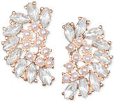 Badgley Mischka Crystal & Imitation Pearl Arch Stud Earrings
