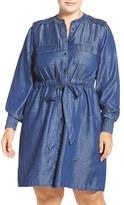 Foxcroft Plus Size Women's Denim Tie Waist Shirtdress
