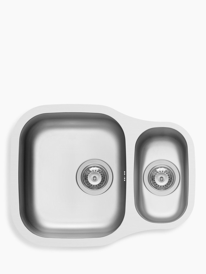 John Lewis & Partners 1.5 Bowl Reversible Rounded Kitchen Sink, Stainless Steel