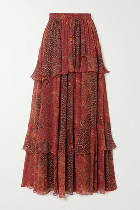 Etro Tiered Paisley-print Silk-crepon Maxi Skirt - IT38