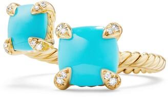 David Yurman Chatelaine Bypass Semiprecious Stone & Diamond Ring