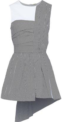 Adam Lippes Asymmetric Ruched Striped Cotton-poplin Top