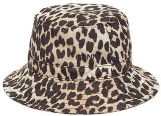 Ganni Leopard-print Cotton-poplin Bucket Hat - Leopard