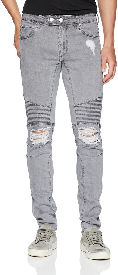 GUESS Men's Skinny Quilted Moto Jean