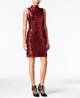 Kensie Sequined Mock-Neck Sheath Dress