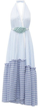 Binetti Love Halterneck Striped-cotton Maxi Dress - Womens - Light Blue