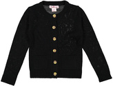 Pink Angel Black Button-Up Cardigan - Infant Toddler & Girls