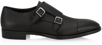 Giorgio Armani Pebbled Leather Double Monk Strap Shoes