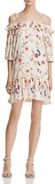 En Creme Floral Print Cold Shoulder Ruffle Dress