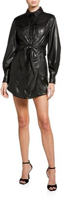 Jonathan Simkhai Eve Vegan-Leather Mini Shirtdress