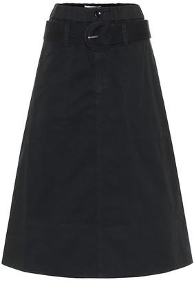 Proenza Schouler Belted cotton twill midi skirt
