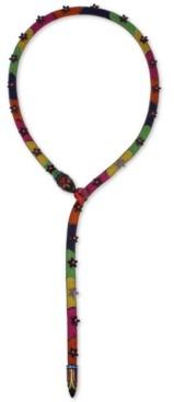 """Betsey Johnson Black-Tone Flower & Glitter Rose Mesh-Covered Multicolor Snake 21-1/2"""" Lariat Necklace"""