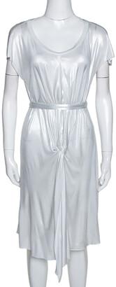 Joseph Metallic Silver Draped Front Mini Dress S
