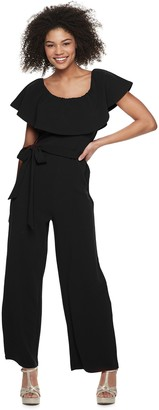 Almost Famous Juniors' Ruffled Flounce Cropped Jumpsuit