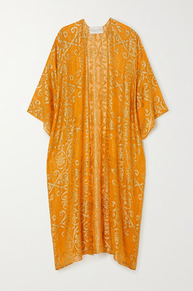 MARIE FRANCE VAN DAMME Babani Metallic Fil Coupe Silk-blend Georgette Robe - Gold