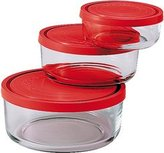 Bormioli 226017-s02 Gelo Box Storage Glass Jar with Lid Set of 3 Red